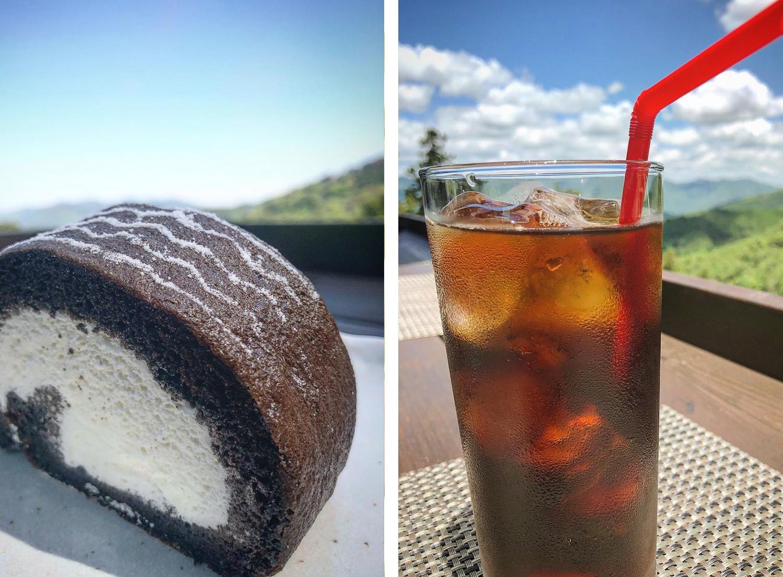 タイヤロールケーキとアイスコーヒー