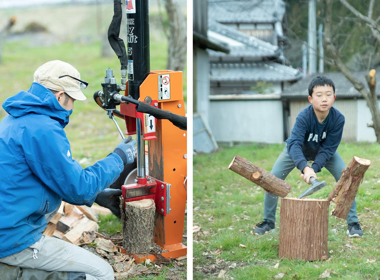 油圧式の薪割り機で割る父(左)と、斧で割る息子。